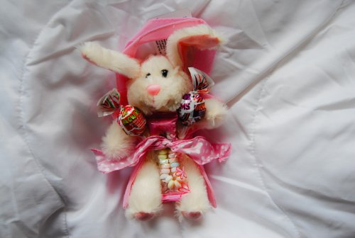 Easter Bunny, Pink Bag, and Candy. 9in Floppy Eared Bunny (Cream)