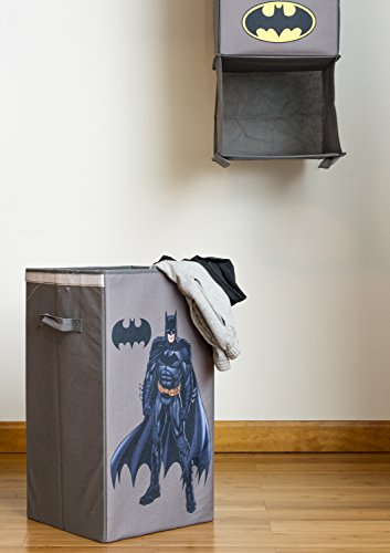 Modern Littles Batman Closet Hanging Organizer - 2 Storage Compartments, 1 Removable Laundry Bin - 10.5 Inches x 10.5 Inches x 52.5 Inches - Gray at Gotham City Store