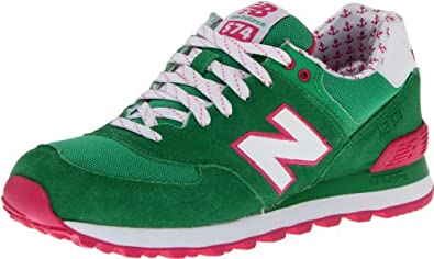New Balance Women's Wl574 Yacht Club Running Shoe,Green/Pink,5 B US