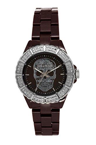 Zadig Voltaire ZV &071S/UU-New Art Shiny Women's Quartz Analogue Watch-Black Plastic Strap-Brown Dial