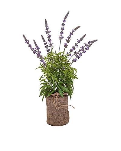 Winward Faux Blue Salvia in Burlap Bag, Lavender/Green