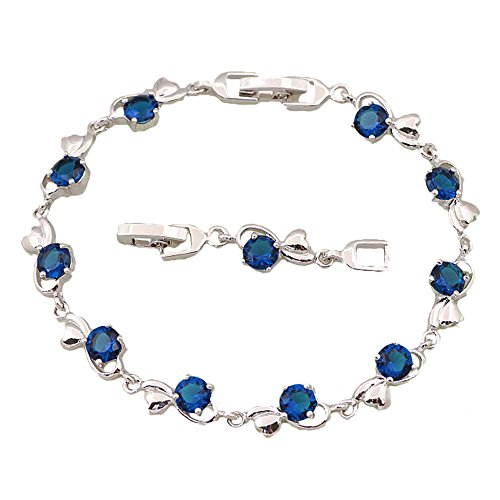 wholesale-retail-sterling-silver-blue-zircon-stone-sapphire-bracelets-bangles-women-fashion-jewelry-