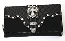 Western Rhinestone Cross Purse with Buckle in Black Brown Turq and Beige Wl12164-1 (Black)