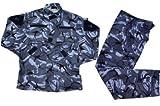 イギリス軍 ブラッシュパターン DPM迷彩 青系 レプリカ BDU 迷彩服 戦闘服 ジャケット&パンツ 上下セット (XL)