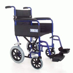 Z-TEC - Lightweight Folding Transit Wheelchair In Metallic Blue.