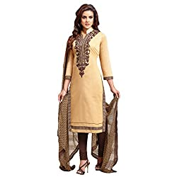 Udantya Women's Chanderi Embroidered Salwar Suit Unstitched Dress Materials (Beige)