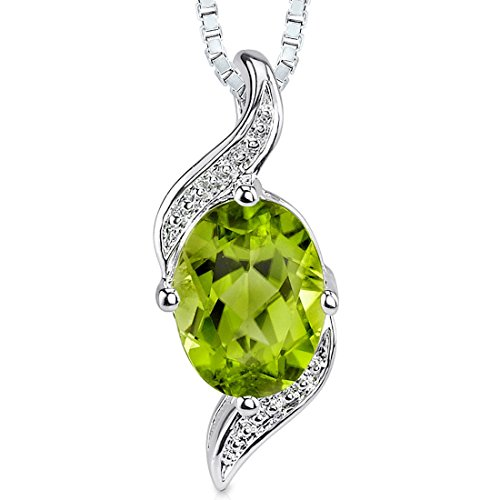 Peridot Pendant Necklace Sterling Silver Oval Shape 1.25 Carat