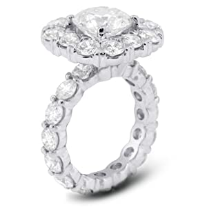 11.09 Carat Excellent Cut Round H-SI1 GIA Certified Diamond 14k Gold Accents Engagement Ring 11.98gr