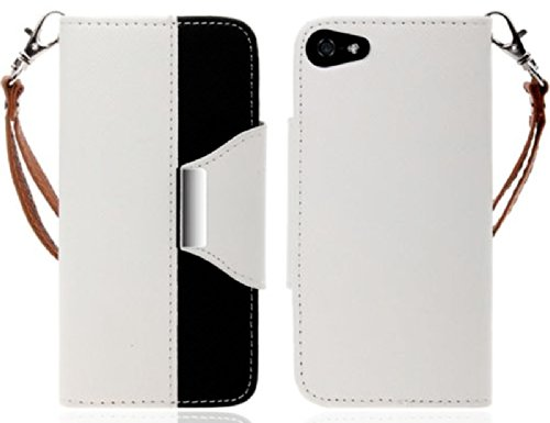 Mylife (Tm) White And Black Classy Design - Textured Koskin Faux Leather (Card And Id Holder + Magnetic Detachable Closing) Slim Wallet For Iphone 5/5S (5G) 5Th Generation Smartphone By Apple (External Rugged Synthetic Leather With Magnetic Clip + Interna