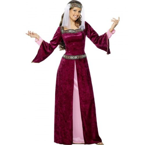 Smiffy's Halloween Adult Medieval Maid Marion Costume Medium Burgundy