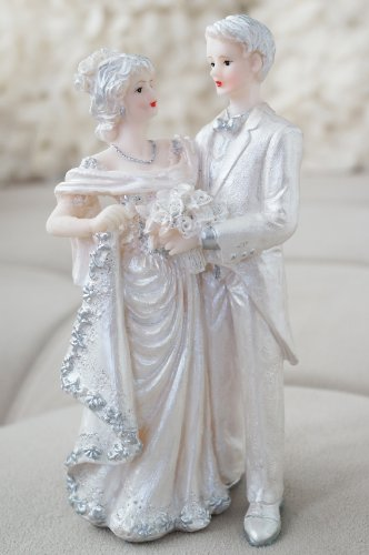 Vintage Wedding Couple Bride and Groom Decor Figurine Statue - Silver & White