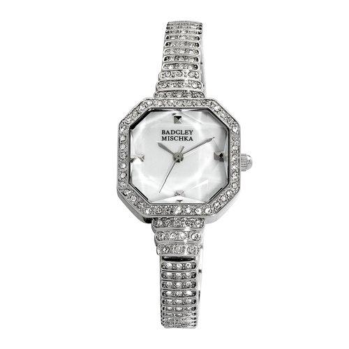 Badgley Mischka Women's BA1157MPSV Crystal Accented Silver-Tone Bracelet Watch