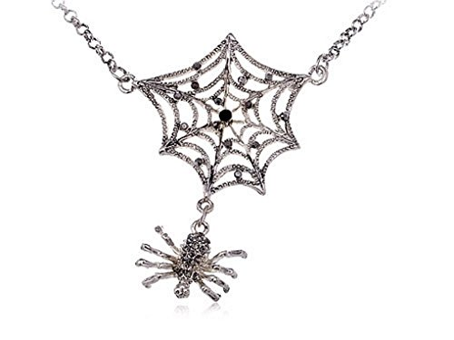 SOOZ_SOOZ : Antique Inspired Jet Black Crystal Rhinestones Spider Web Chain Long Necklace (Spiderweb Rhinestone Necklace)