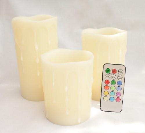 Candle Choice Set Of 3 3.1'' Paraffin Wax Dripping Round Pillar Flameless Multi-Color Led Candle With Remote