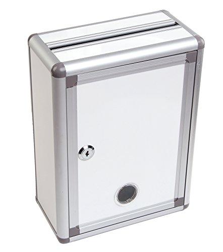 Aoakua 鍵付きBOX ( 募金箱 応募箱 投票箱 投函箱 アンケートボックス 等) シルバーホワイト W22cm