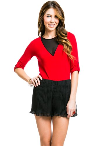 Mesh Collar Knit Sweater in Red