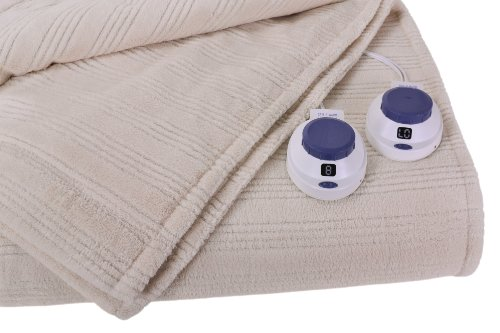 Buy Cheap Soft Heat Ultra Micro-Plush Low-Voltage Electric Heated Triple-Rib King Size Blanket, Natu...