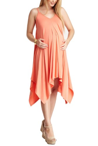 "Momo Maternity ""Betsy"" Handkerchief Cut Dress – Coral M"