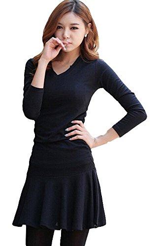 Tp Sky Women'S Long Sleeve V Neck Casual Fit Flare Dress For Winter (Black)