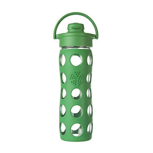 Lifefactory Unisex Glass Bottle with Flip Cap 16 oz. Grass Green Water Bottle 16 oz