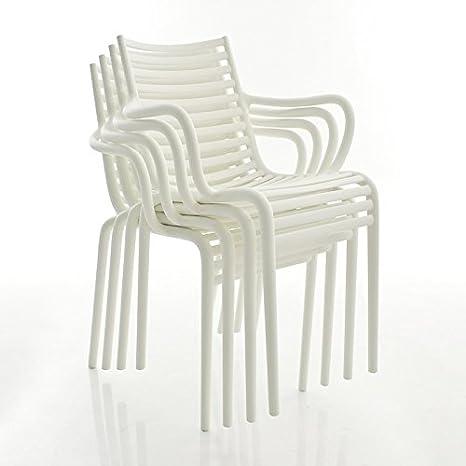 Driade PIP de S del reposabrazos–Juego de sillas (4unidades), color blanco mate con reposabrazos