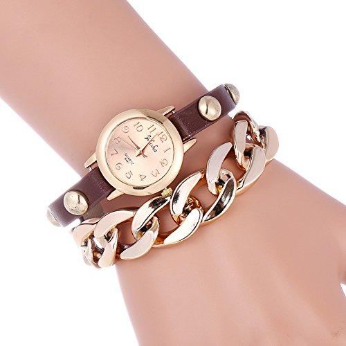 YILISHA Chain Double Leather Strap Bracelet Analog Quartz Women Watch (Coffee)