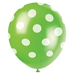 6 Count Green Polka Dot Latex Balloons, 12-Inch