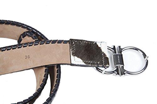 Ferragamo-Cinturn-Double-de-gancini-piel-animal-marrn-de-color-blanco