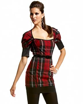 bebe.com : Tartan Plaid Cutout Satin Dress :  tartan plaid cutout satin dress com tartan bebe