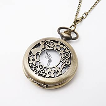 Alice in Wonderland Style Necklace Pocket Watch, Vintage Look, Long Chain & Quartz Movement