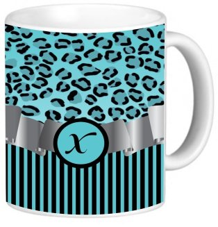 "Rikki Knighttm Letter ""X"" Initial Sky Blue Leopard Print And Stripes Monogrammed Design 11 Oz Photo Quality Ceramic Coffee Mug Cup - Fda Approved - Dishwasher And Microwave Safe"