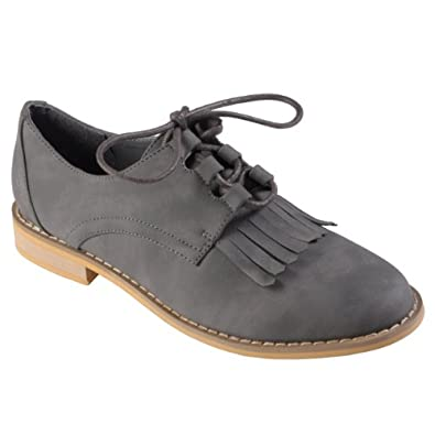 Tressa Collection Womens Fringe Detail Lace-up Oxfords