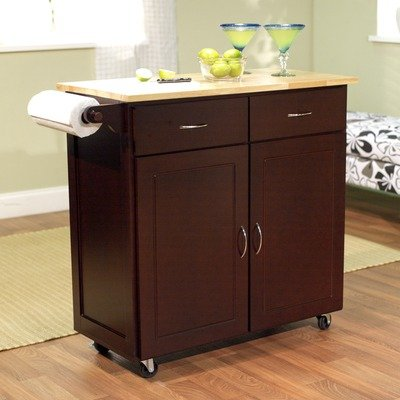 Cheap Large Kitchen Cart with Wood Top in Espresso (60046ESP)