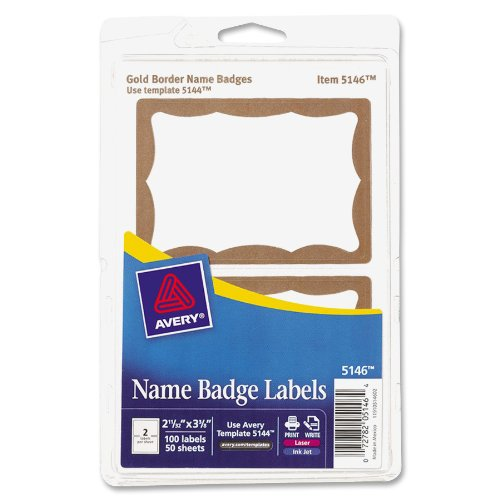 Avery Gold Border Name Badge Labels 2 343 x 3 375 Inches Pack of 100 05146B00006Y0CP