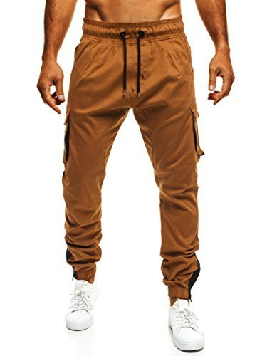 OZONEE Uomo Jogger Chino Jogging Pantaloni Cascante Pantaloni Sport Jogging Fitness ATHLETIC 705 - Cammello (scuro), XL
