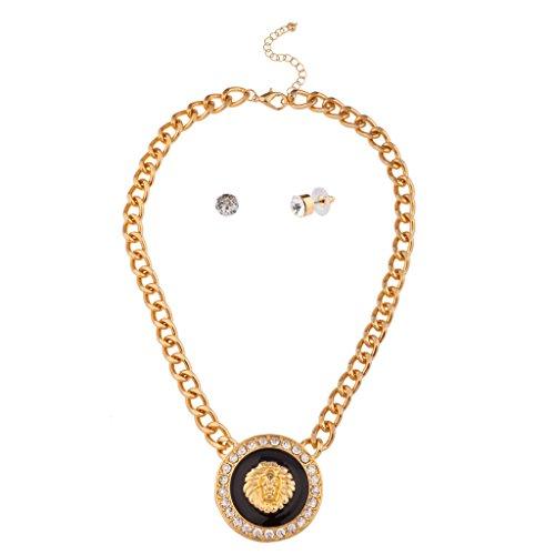 Lux accessori leone re della giungla cristallo catena collana orecchini a perno abbinati