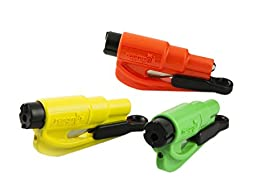 resqme The Original Keychain Car Escape tool,  Made in USA (Yellow/Green/Orange) - Pack of 3