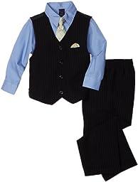 Nautica Dress Up Little Boys\' 4 Piece Dresswear Vest Set, Navy, 2T/2