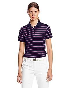 adidas Golf Women's Climalite Short Sleeve Stripe Polo, Dark Purple/Solar Pink, X-Small