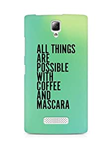AMEZ all things are possible with coffee and mascara Back Cover For Lenovo A2010