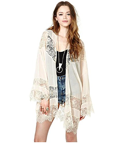 Vintage Women Girls Floral Print Long Loose Kimono Jacket Coat Cardigan Blouses (S, beige)