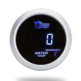 docooleru00ae 52mm 2.0 inch LCD 40~120u2103 Celsius Degree Auto Car Digital Water Temperature Meter Gauge with Warning Sensor Light - Silver