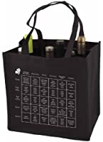 6-Bottle Wine Tote Bag with Storage Compartents and Imprinted Food and Wine Pairing Chart, Quantity 1, Black