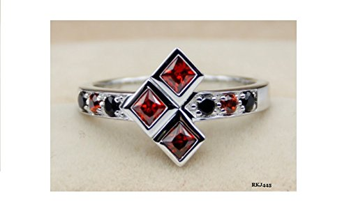 Batman Harley Quinn Joker Orange Garnet Princess Round Black Simulated Diamond 925 Sterling Silver Engagement Wedding Promise Cocktail Comic Book DC Ring,Size O
