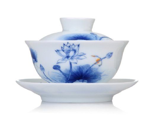 Moyishi Blue And White Ceramics Lotus Gaiwan Traditional Chinease Tureen Sancai Tea Cup Tea Set 5.3 Oz