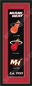 Heritage Banner Of Miami Heat With Team Color Double Matting-Framed Awesome &... by Art and More, Davenport, IA