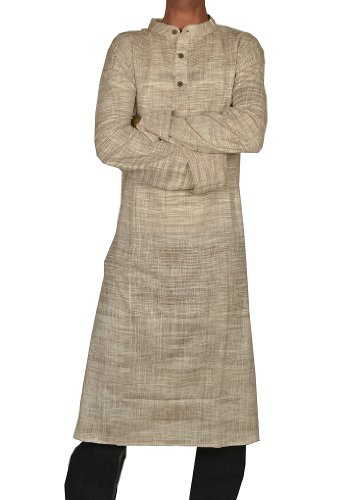 Indian Casual Wear Cotton Khadi Long Kurta with Standing Collar Neckline Fabric For Winter & Summers Size 5XL