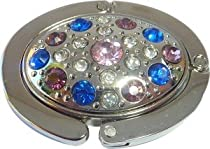 Colorful Stones Oval Foldable Purse Hanger Handbag Table Hook