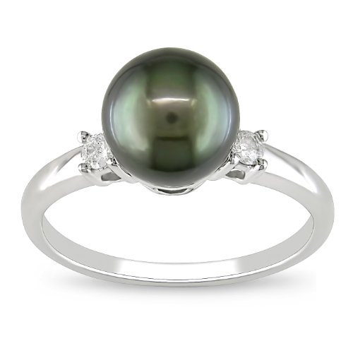 10k White Gold Black Tahitian Pearl with Diamond Accent Ring (1/10 cttw, H-I Color, I2-I3 Clarity), Size 7