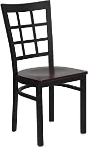 Flash Furniture XU-DG6Q3BWIN-MAHW-GG Hercules Series Black Window Back Metal Restaurant Chair with Mahogany Wood Seat